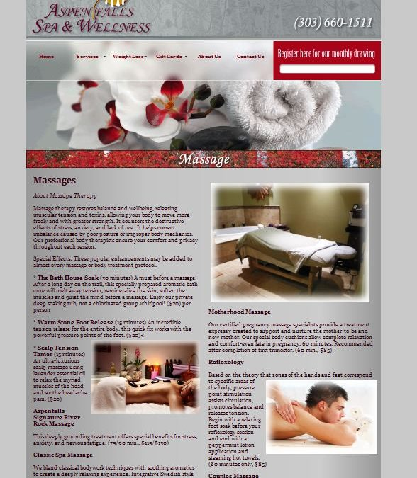 Aspen Falls Spa website