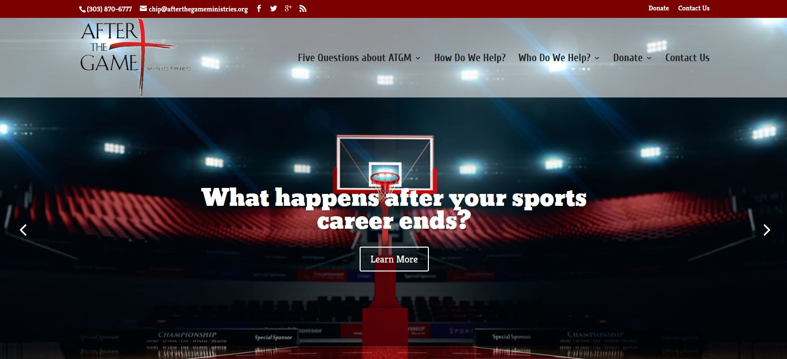 A redesigned website for After The Game Ministries