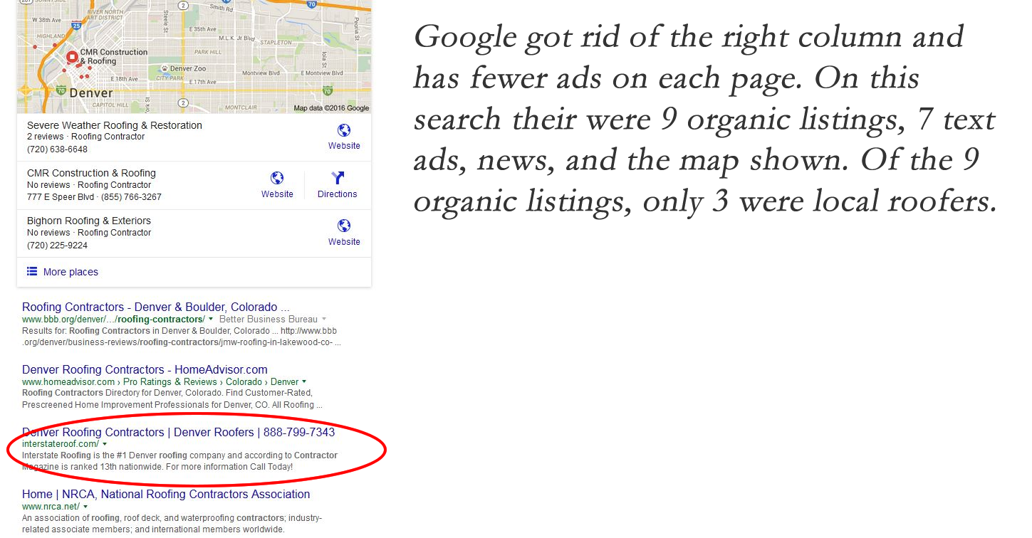 organic listings on Google
