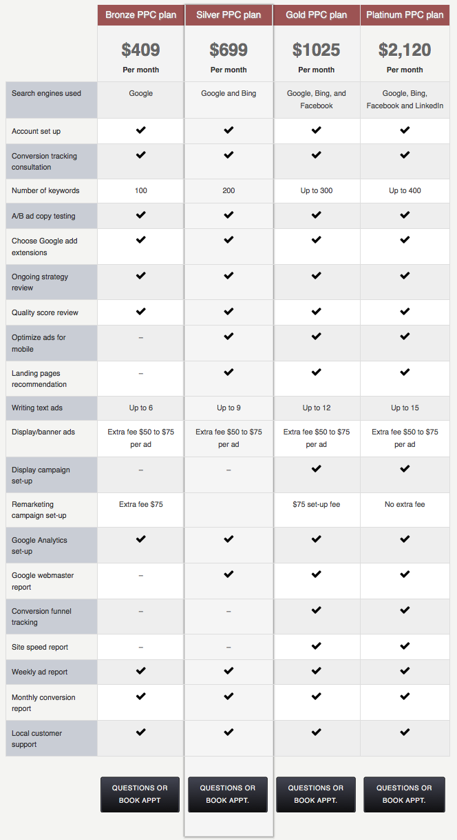 Pay Per Click pricing options