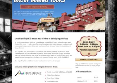 Argo Mine & Mill Tour website design